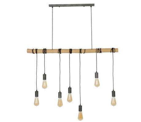 wonenmetlef Suspension Avery 7 lumières lumière naturelle bambou brun noir 120x6x150cm