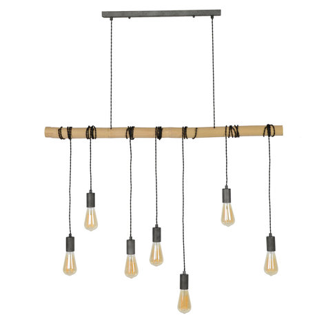wonenmetlef Hanglamp Avery 7-lichts naturel bruin zwart bamboe 120x6x150cm
