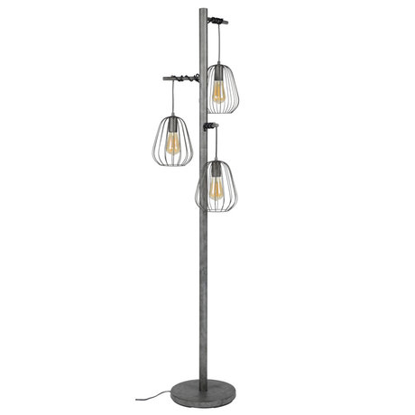 wonenmetlef Floor lamp Skip 3-light old silver metal 50x50x173cm