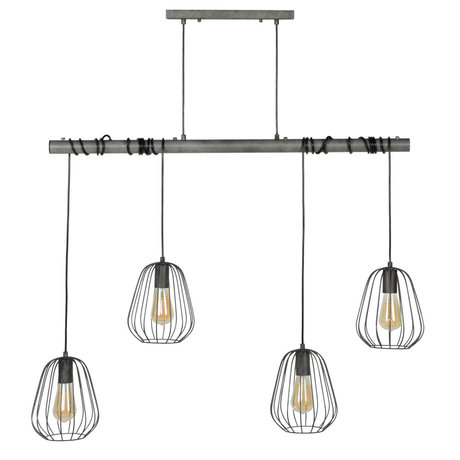 wonenmetlef Hanging lamp Skip 4-light old silver metal 100x18x150cm