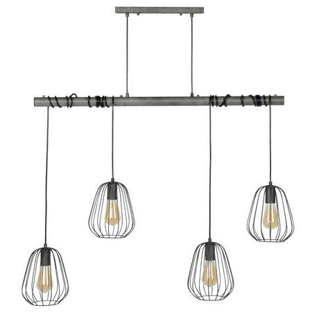 wonenmetlef Hanglamp Skip 4-lichts oud zilver metaal 100x18x150cm