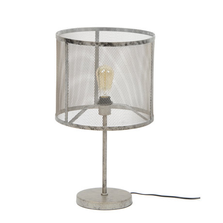 wonenmetlef Tafellamp Gigi raster oud zilver metaal Ø35x60cm