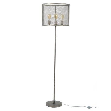 wonenmetlef Vloerlamp Gigi raster oud zilver metaal Ø45x170cm