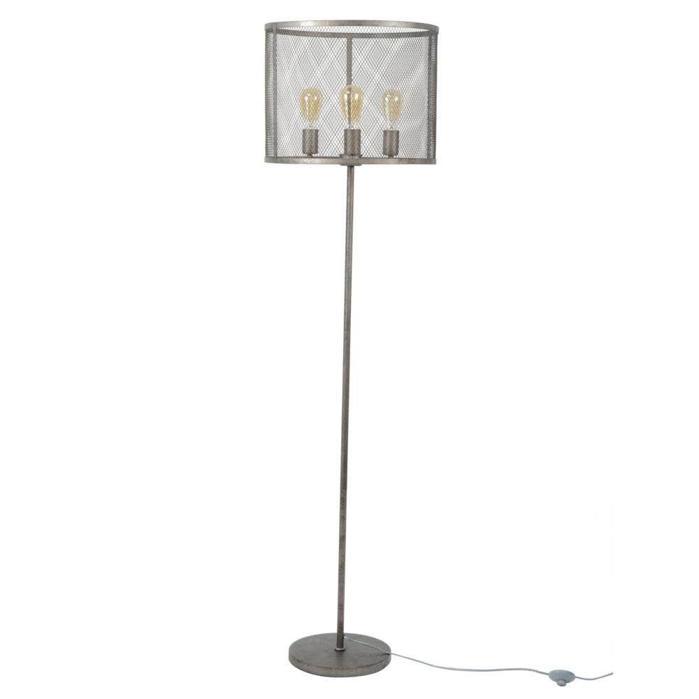 Wonenmetlef Stehlampe Gigi Gitter Alt Silber Metall O45x170cm