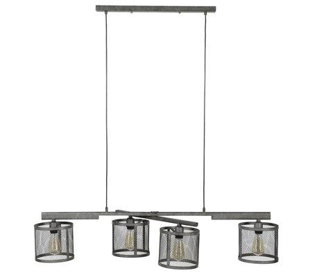 wonenmetlef Hanglamp Gigi 4-lichts raster oud zilver metaal 125x20x150cm