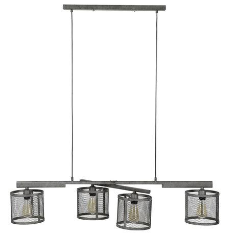 wonenmetlef Hanging lamp Gigi 4-light grid old silver metal 125x20x150cm