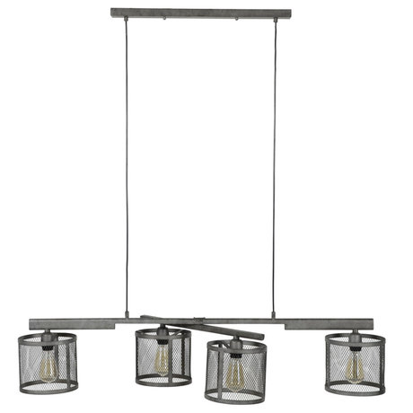 wonenmetlef Lampe suspendue Gigi à 4 lumières grille en métal argenté 125x20x150cm