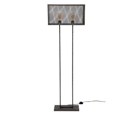 wonenmetlef Vloerlamp Madison 2-lichts oud zilver metaal 55x18x165cm