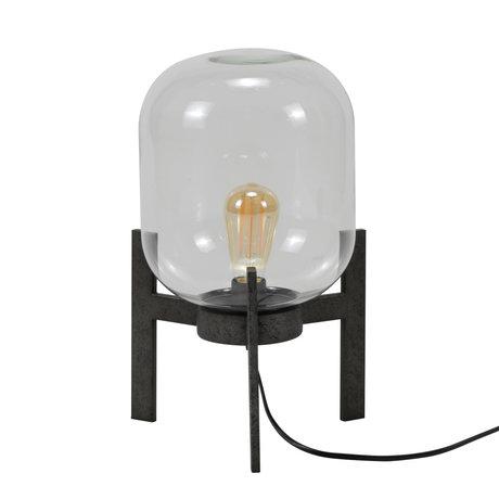 mister FRENKIE Tafellamp Dean oud zilver glas staal Ø28x44cm