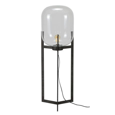 wonenmetlef Floor lamp Dean old silver glass steel Ø38x110cm