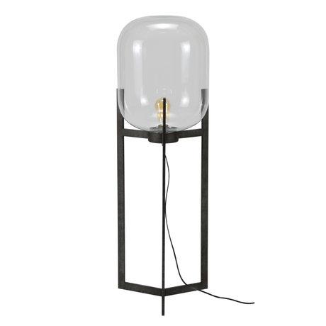 Wonenmetlef Vloerlamp Dean oud zilver glas staal Ø38x110cm