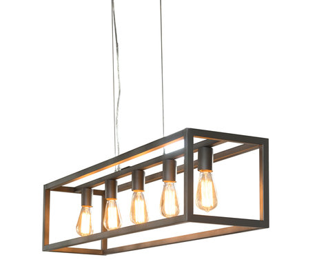 wonenmetlef Kay hanging lamp 5-light silver metal 125x25x150cm