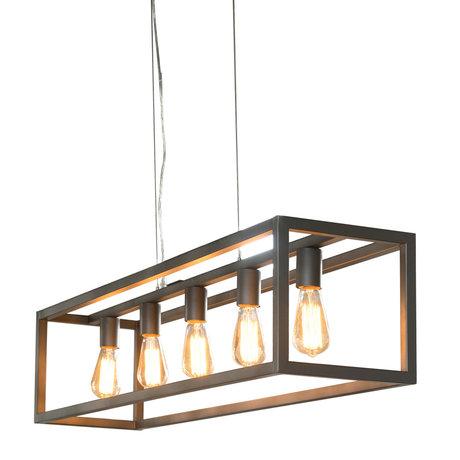 wonenmetlef Lampe à suspension Kay à 5 lumières en métal argenté 125x25x150cm