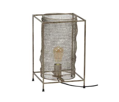 wonenmetlef Lampe à poser Liz rectangle antique en métal argenté 25x25x40cm