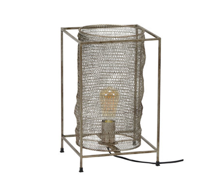 wonenmetlef Table lamp Liz rectangle antique silver metal 25x25x40cm