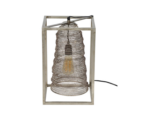 wonenmetlef Lampe de table Liz rectangulaire suspendue en métal argenté antique 25x25x40cm