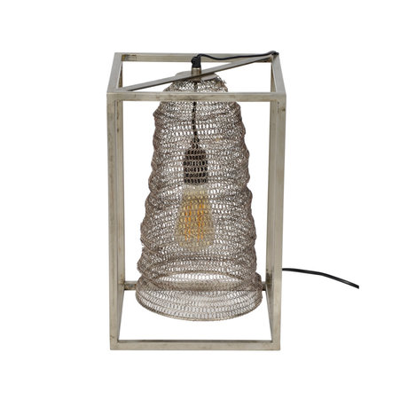 wonenmetlef Tafellamp Liz rechthoek hangend antiek zilver metaal 25x25x40cm