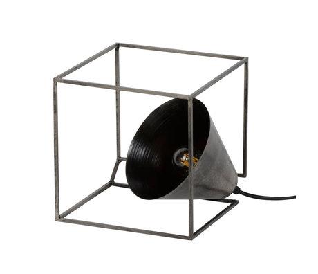 wonenmetlef Lampe de table Skyler cube vieil acier argenté 20x20x20cm