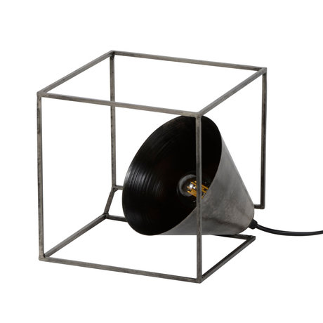 wonenmetlef Table lamp Skyler cube old silver steel 20x20x20cm