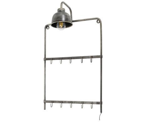 wonenmetlef Coat rack with lamp Lev old silver steel 44x25x75cm