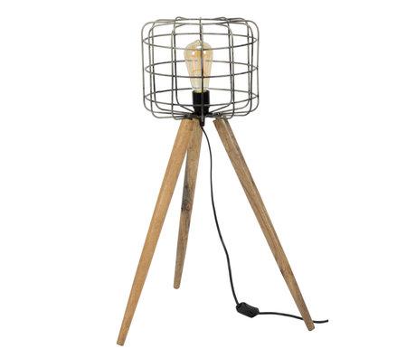wonenmetlef Floor lamp Ace gray brown wood metal Ø44x68cm