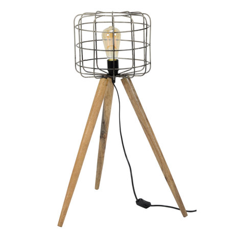 wonenmetlef Floor lamp Ace gray brown wood metal Ø44x68cm