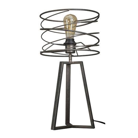 wonenmetlef Lampe à poser Memphis anthracite gris métal Ø27x50cm
