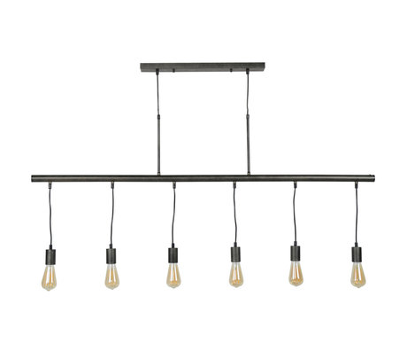 wonenmetlef Hanglamp Jules 6-lichts charcoal grijs metaal 150x8x150cm