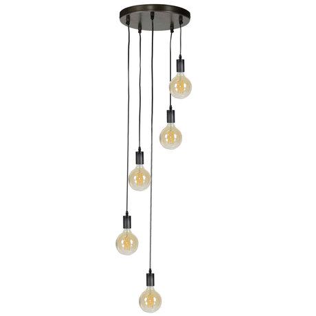 wonenmetlef Hanglamp Jules 5-lichts charcoal grijs metaal Ø40x150cm