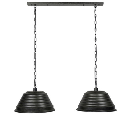 wonenmetlef Ravi hanging lamp 2-light charcoal gray metal 127x47x150cm