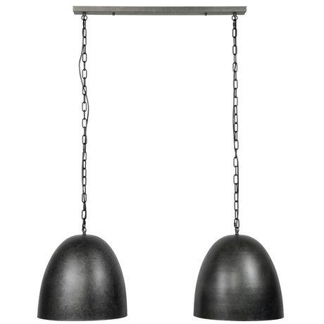 wonenmetlef Cody lampe suspension 2 lumières anthracite en métal 110x40x150cm