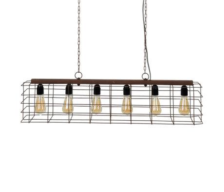 wonenmetlef Hanglamp Joshua 6-lichts roest bruin metaal 95x21x150cm