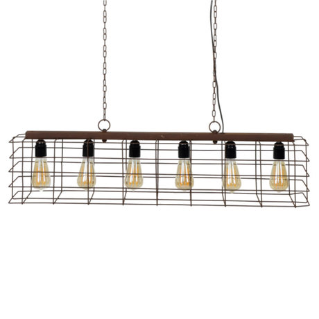 wonenmetlef Joshua lampe à suspension à 6 lampes, métal rouille brun 95x21x150cm