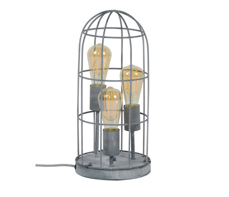 wonenmetlef Lampe à poser Pam 3 lumières béton gris métal Ø20x43cm