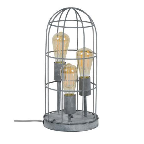 wonenmetlef Table lamp Pam 3-light concrete gray metal Ø20x43cm