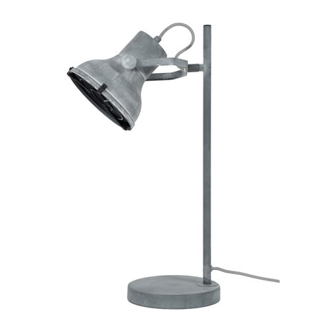 wonenmetlef Lampe à poser Pax béton gris métal 18x25x55cm