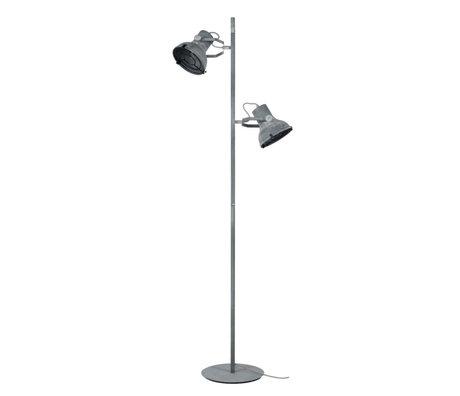 wonenmetlef Lampadaire Pax 2 lumières béton gris métal 46x29x156cm