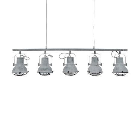 wonenmetlef Hanging lamp Pax 5-light concrete gray metal 120x16x150cm