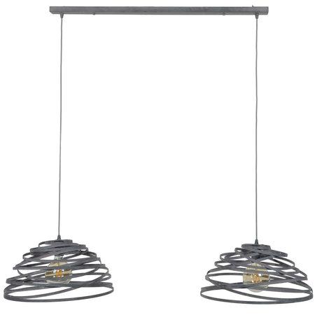 wonenmetlef Suspension Babet 2 lumières gris acier 140x50x150cm