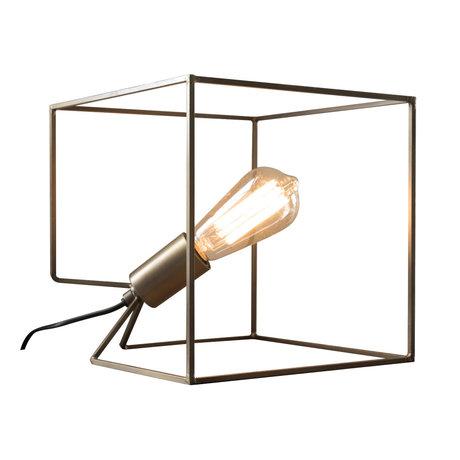 wonenmetlef Tafellamp Jen antiek brons staal 25x25x25cm