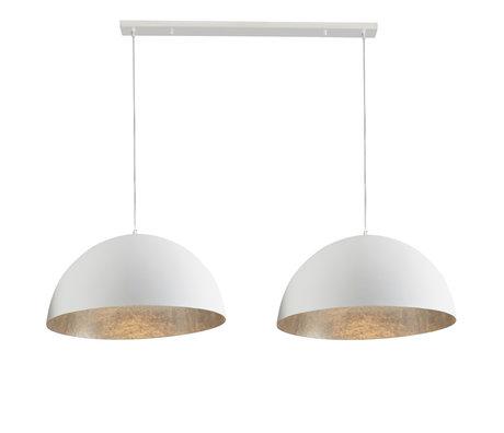 wonenmetlef Rio hanging lamp 2-light matt white silver plastic 155x70x150cm