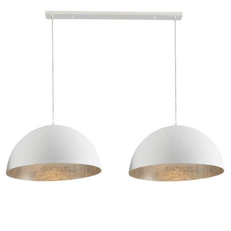 wonenmetlef Lampe à suspension Rio 2 lumières en plastique blanc argenté mat 155x70x150cm