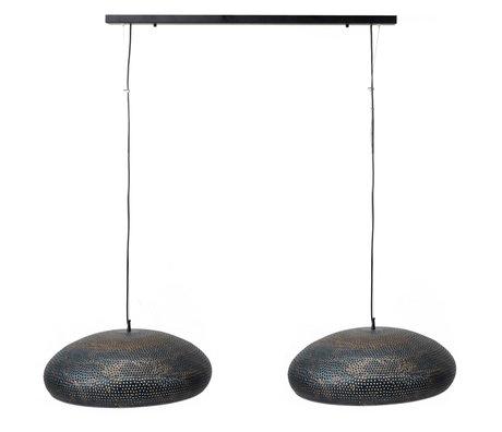 wonenmetlef Lampe à suspension Lauren 2 lumières métal noir-brun 130x50x150cm