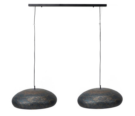 wonenmetlef Lauren hanging lamp 2-light black-brown metal 130x50x150cm