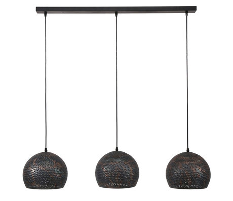wonenmetlef Hanglamp Lauren bol 3-lichts zwart bruin metaal 110x25x150cm