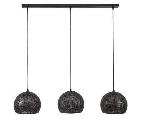wonenmetlef Lauren Hängelampe 3-Licht schwarzbraunes Metall 110x25x150cm