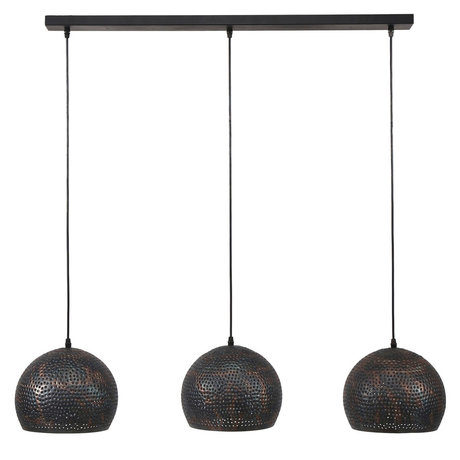wonenmetlef Lauren hanging lamp 3-light black-brown metal 110x25x150cm