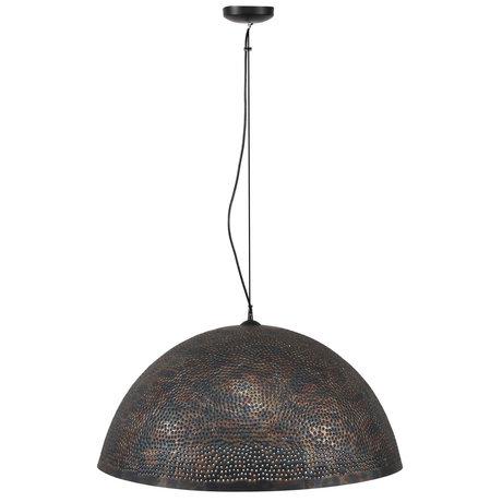 wonenmetlef Hanglamp Lauren zwart bruin metaal Ø70x150cm