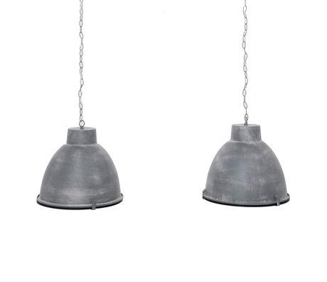 Wonenmetlef Hängelampe Sis 2-hellgraues Stahlreflexionsglas 125x43x150cm