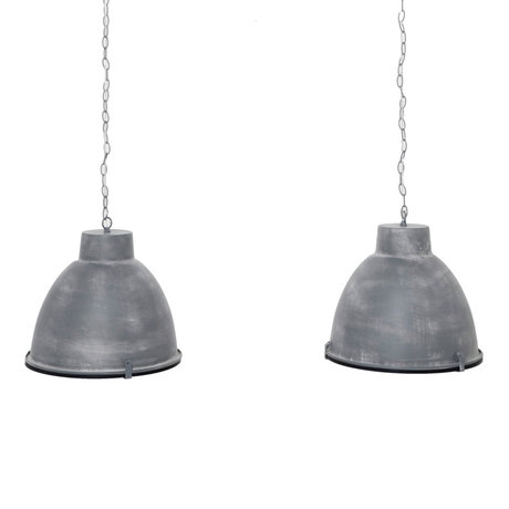 wonenmetlef Hanging lamp Sis 2-light gray steel reflection glass 125x43x150cm